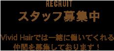 RECRUIT スタッフ募集中